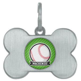 Béisbol, softball; Rayas verdes Placa De Mascota