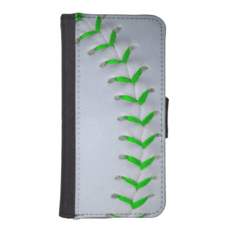 Béisbol/softball verdes claros de las puntadas fundas tipo billetera para iPhone 5