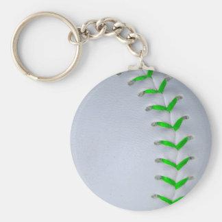 Béisbol softball verdes claros de las puntadas llaveros personalizados