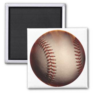 Béisbol suavemente coloreado cambiado al rojo imán de frigorífico