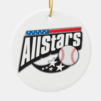 Béisbol todas las estrellas adorno navideño redondo de cerámica