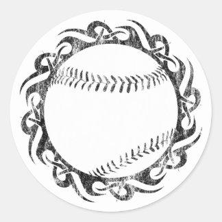 béisbol. tribal pegatina redonda