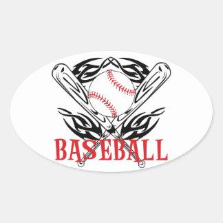 Béisbol tribal pegatina ovalada