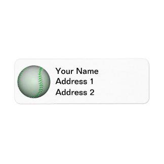 Béisbol verde claro de las puntadas etiqueta de remite