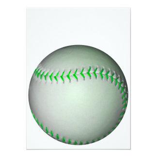 """Béisbol verde claro de las puntadas invitación 5.5"""" x 7.5"""""""