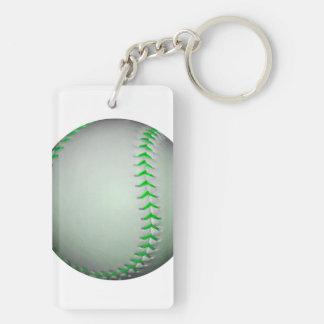 Béisbol verde claro de las puntadas llaveros