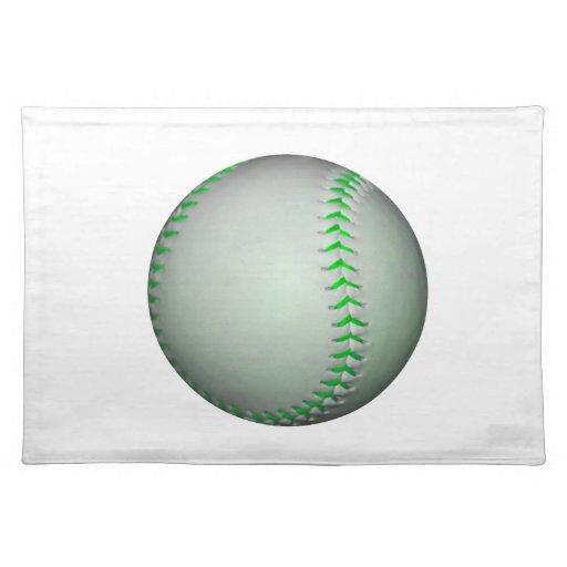 Béisbol verde claro de las puntadas mantel individual