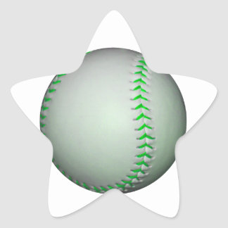 Béisbol verde claro de las puntadas pegatina en forma de estrella