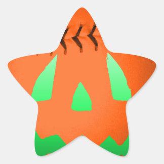 Béisbol verde de la linterna de Jack O del Pegatina En Forma De Estrella