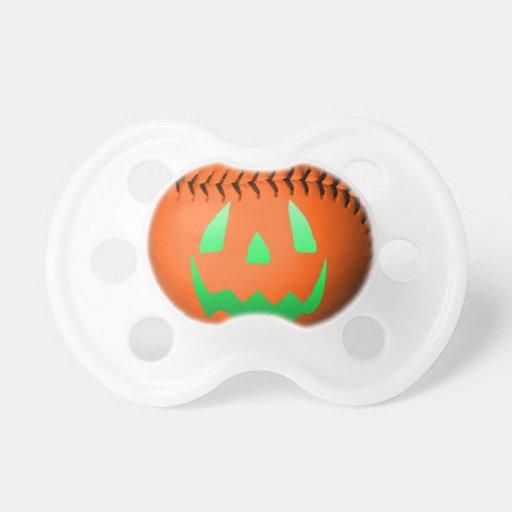Béisbol verde de la linterna de Jack O del resplan Chupetes De Bebé