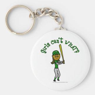 Béisbol verde oscuro de los chicas llaveros