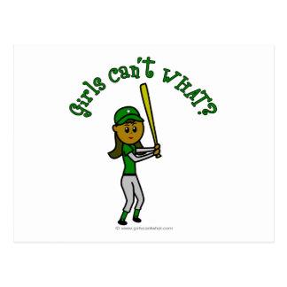 Béisbol verde oscuro de los chicas postal