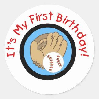 Béisbol y 1ras camisetas y regalos del cumpleaños  pegatina