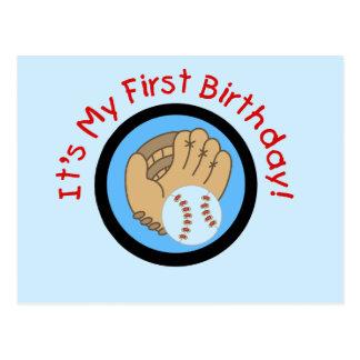 Béisbol y 1ras camisetas y regalos del cumpleaños postales