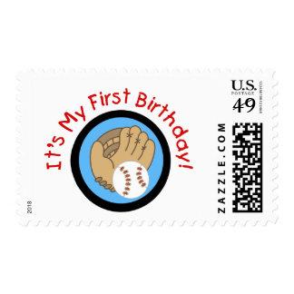 Béisbol y 1ras camisetas y regalos del cumpleaños sellos postales