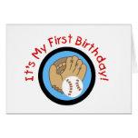 Béisbol y 1ras camisetas y regalos del cumpleaños  felicitacion