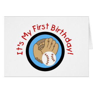 Béisbol y 1ras camisetas y regalos del cumpleaños  tarjeta de felicitación