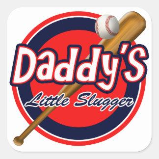Béisbol y bateador del papá del palo el pequeño colcomanias cuadradass