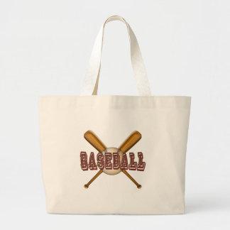 Béisbol y bates de béisbol cruzados bolsa de tela grande