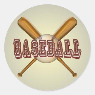 Béisbol y bates de béisbol cruzados pegatina redonda