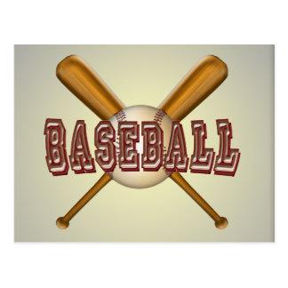 Béisbol y bates de béisbol cruzados postales