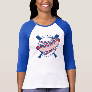 Béisbol y camiseta de la manga de las mujeres del