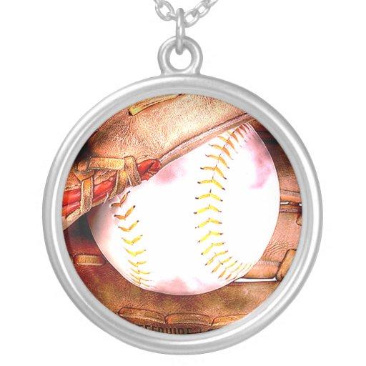 Béisbol y estilo del Grunge del guante Colgante Redondo
