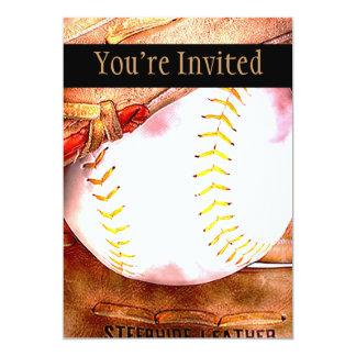 Béisbol y estilo del Grunge del guante Invitacion Personalizada