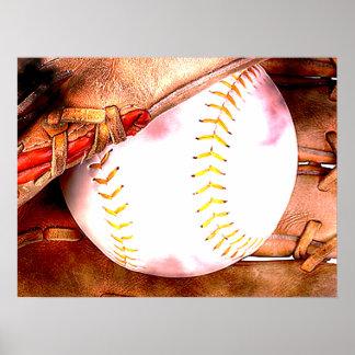 Béisbol y estilo del Grunge del guante Posters