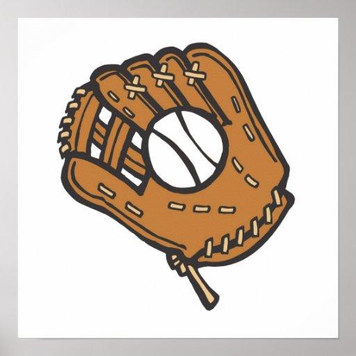 Béisbol y guante impresiones