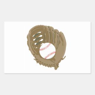 béisbol y mitón del guante pegatina rectangular