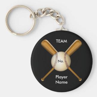 Béisbol y palos cruzados adaptables llavero redondo tipo pin