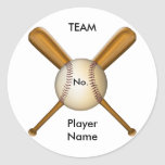 Béisbol y palos cruzados adaptables pegatinas redondas