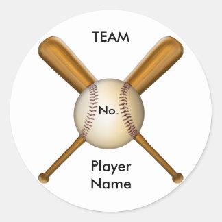 Béisbol y palos cruzados adaptables pegatina redonda