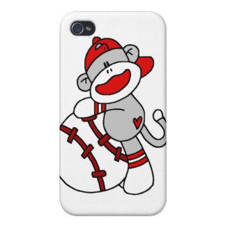 Béisbol y regalos del mono del calcetín iPhone 4 protector
