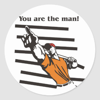 beisbol-you are the man product line classic round sticker