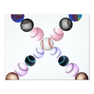Béisboles americanos en la forma de un X Invitación 10,8 X 13,9 Cm