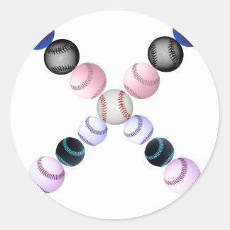 Béisboles americanos en la forma de un X Pegatina Redonda