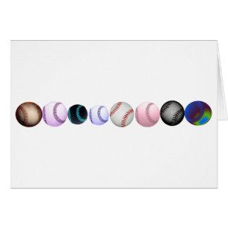 Béisboles múltiples en diversos colores y estilos tarjeta de felicitación