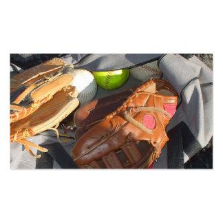 Béisboles y mitón tarjeta de visita