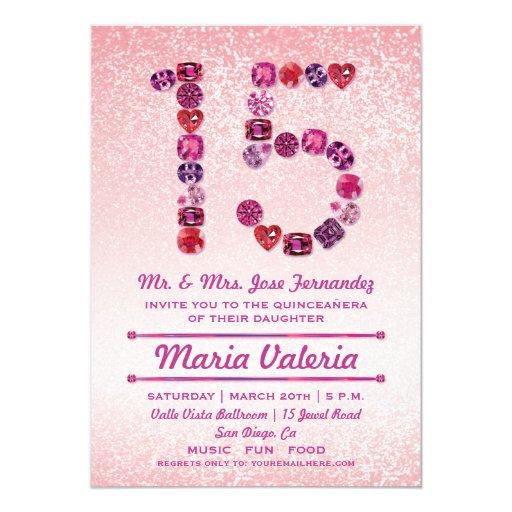 Bejeweled 15th Birthday Quinceañera Party Invites | Zazzle
