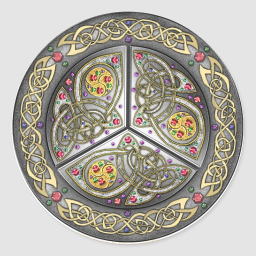 Bejeweled Celtic Shield Classic Round Sticker
