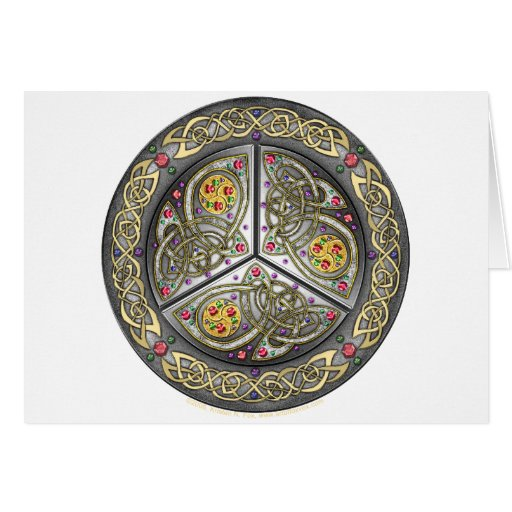 Bejeweled Celtic Shield Greeting Card