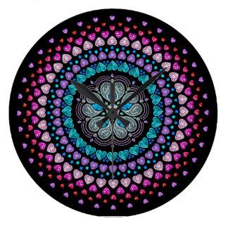 Bejeweled Diamond Heart Explosion Clock