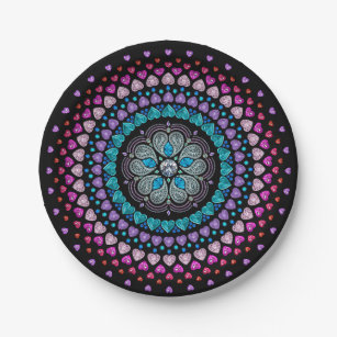 Bejeweled Diamond Heart Explosion Paper Plate  sc 1 st  Zazzle : diamond paper plates - pezcame.com