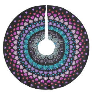 Bejeweled Diamond Heart Explosion Pattern Brushed Polyester Tree Skirt