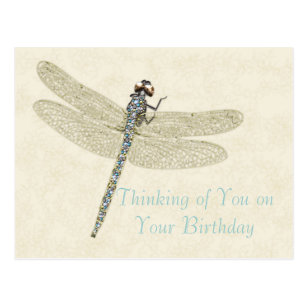 Bejeweled Dragonfly Birthday Wishes Postcard