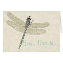 Bejeweled Dragonfly Happy Birthday Card
