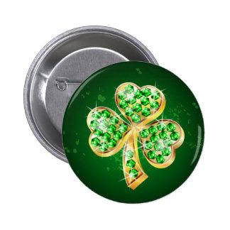 Bejeweled Emerald Shamrock Badge Pin