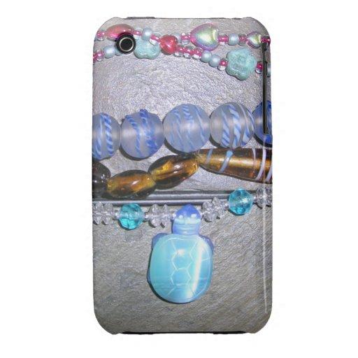 Bejeweled en pizarra con las gotas de la tortuga iPhone 3 cárcasa